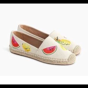 J Crew Canvas espadrilles with embroidered fruits